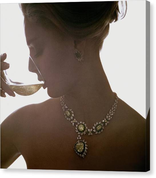 Close Up Of A Young Woman Wearing Jewelry Canvas Print