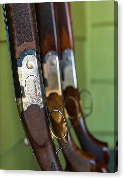 Shotguns Canvas Print - Close-up Of Beretta Shotguns by Panoramic Images