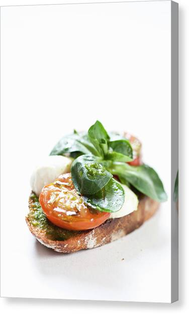 Close Up Of Bread With Cheese And Tomato Canvas Print by Henn Photography
