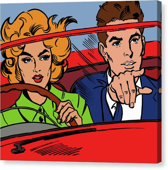 Close Up Of Couple Driving Red Canvas Print