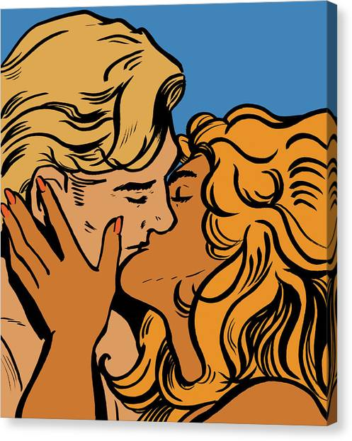 Close Up Of Couple Kissing Canvas Print by Jacquie Boyd