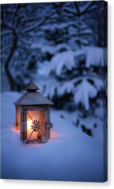 Close Up Of Glowing Lantern In Snow Canvas Print by Cultura Rm Exclusive/christoffer Askman