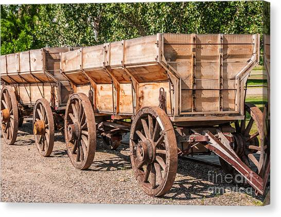 Close-up Of Grain Wagons Canvas Print