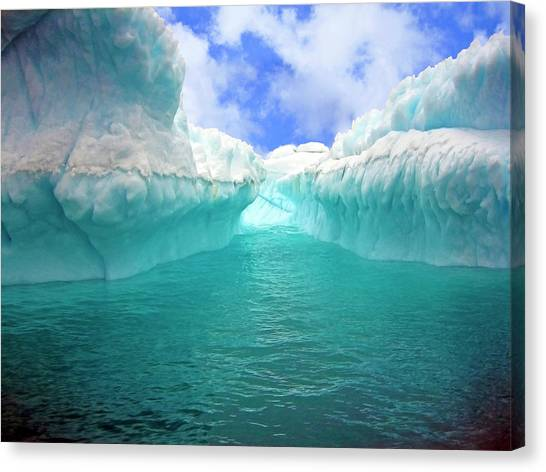 Antarctica Canvas Print - Close Up Of Iceberg With Fluted by Miva Stock