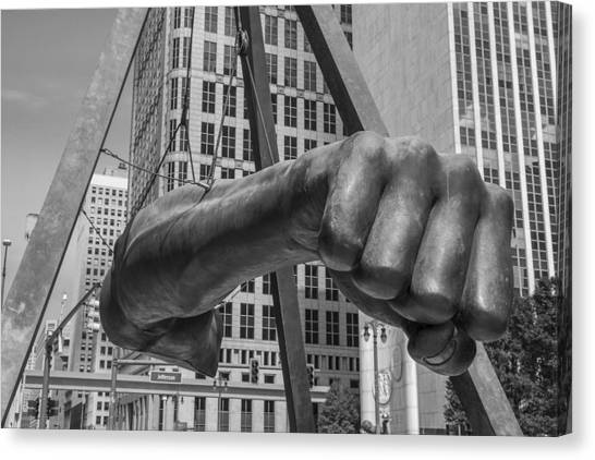Close Up Of Joe Louis Fist Black And White  Canvas Print