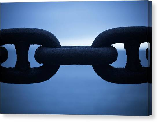 Chain Link Canvas Print - Close-up Of Large Chain Links by Ron Koeberer