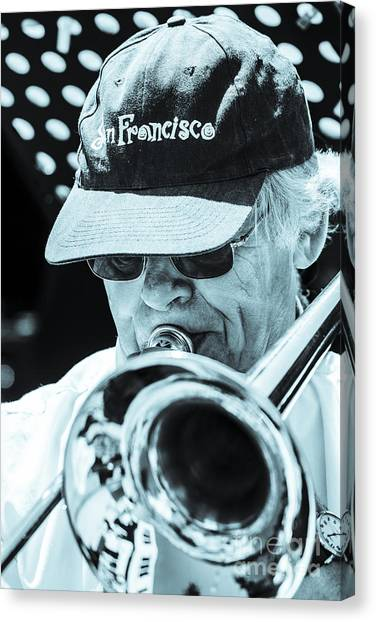 Close Up Of Male Trombone Player In Baseball Cap Canvas Print