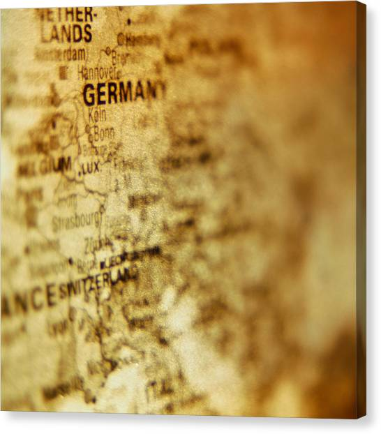 Close-up Of Map Of Western Europe Canvas Print by Ryan McVay