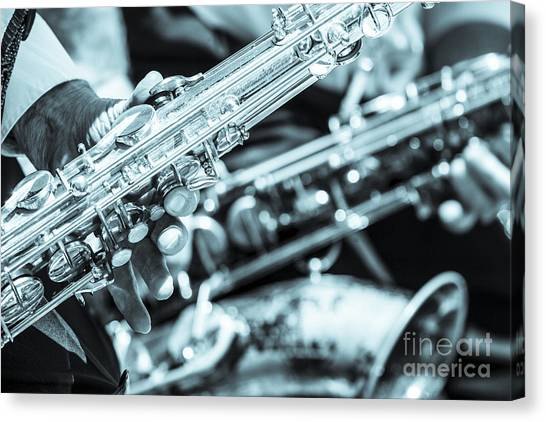 Close Up Of Saxophonist Fingering Canvas Print