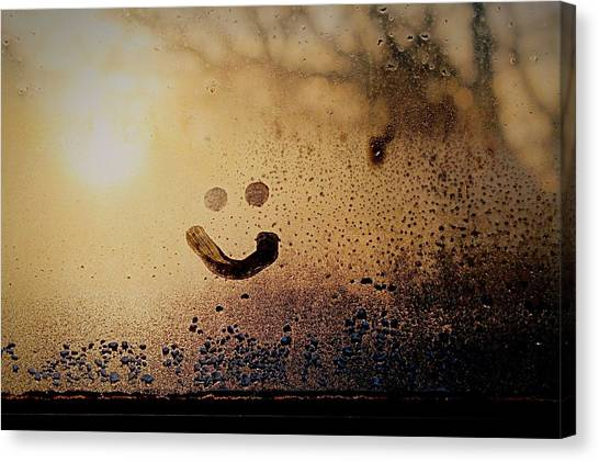 Close-up Of Smiley On Condensed Glass Canvas Print by Lacy Custance / Eyeem