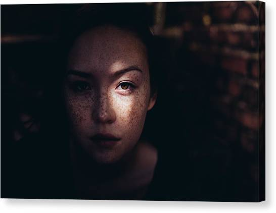 Close-up Portrait Of Woman Canvas Print by Jonas Hafner / EyeEm