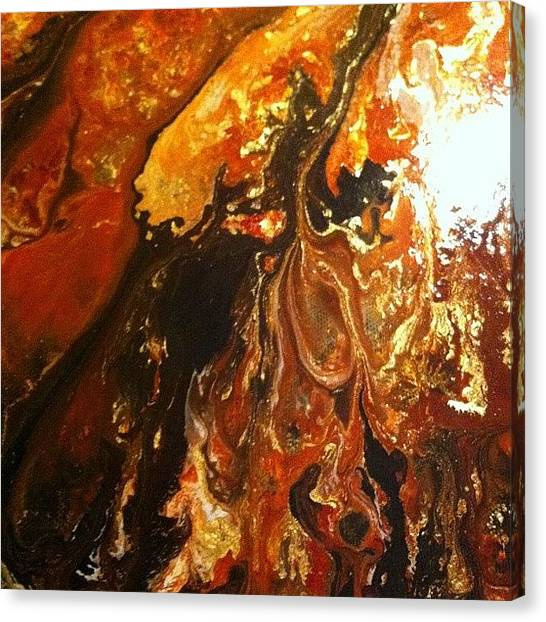 Lava Canvas Print - Close Up Showing The Veins Of Gold by Ocean Clark