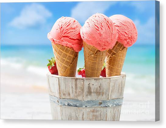 Summer Holiday Canvas Print - Close Up Strawberry Ice Creams by Amanda Elwell
