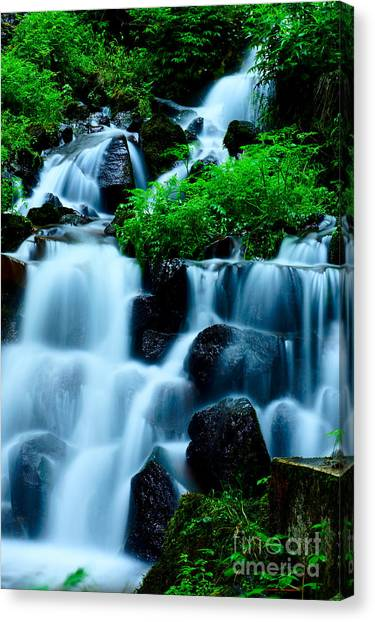 Closeup Of Beautiful Waterfall In Karuizawa Japan Canvas Print