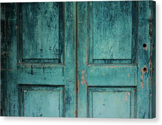 Closeup Of Blue Turquoise Old Textured Canvas Print by Sean Idielic