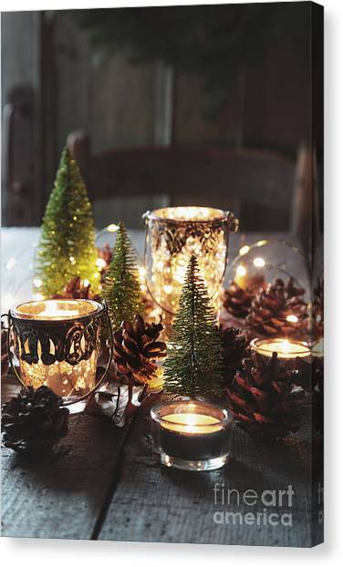 Christmas Lights Canvas Print - Closeup Of Candles And Decorations For The Holidays by Sandra Cunningham