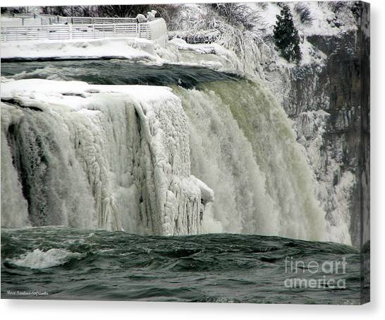 Canvas Print featuring the photograph Closeup Of Icy Niagara Falls by Rose Santuci-Sofranko