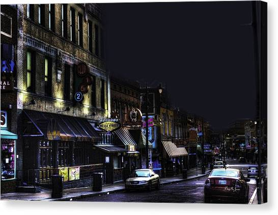 Memphis - Night - Closing Time On Beale Street Canvas Print