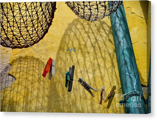 Clothesline And Fish Traps Canvas Print