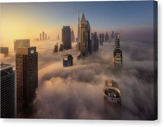 Dubai Skyline Canvas Print - Cloud City by Javier De La
