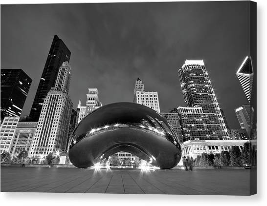 Modern Architecture Canvas Print - Cloud Gate And Skyline by Adam Romanowicz