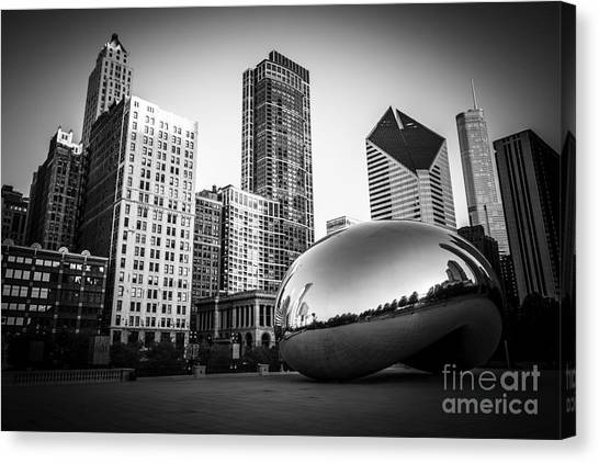 Skylines Canvas Print - Cloud Gate Bean Chicago Skyline In Black And White by Paul Velgos