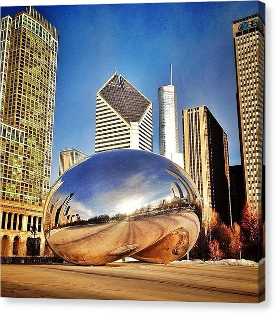 Colorful Canvas Print - Cloud Gate chicago Bean Sculpture by Paul Velgos