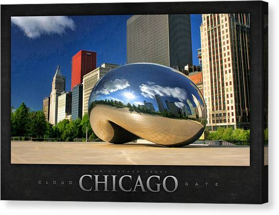 Big Red Canvas Print - Cloud Gate Skyscraper Poster by Christopher Arndt