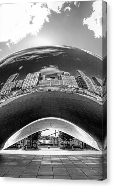 Cloud Gate Under The Bean Black And White Canvas Print