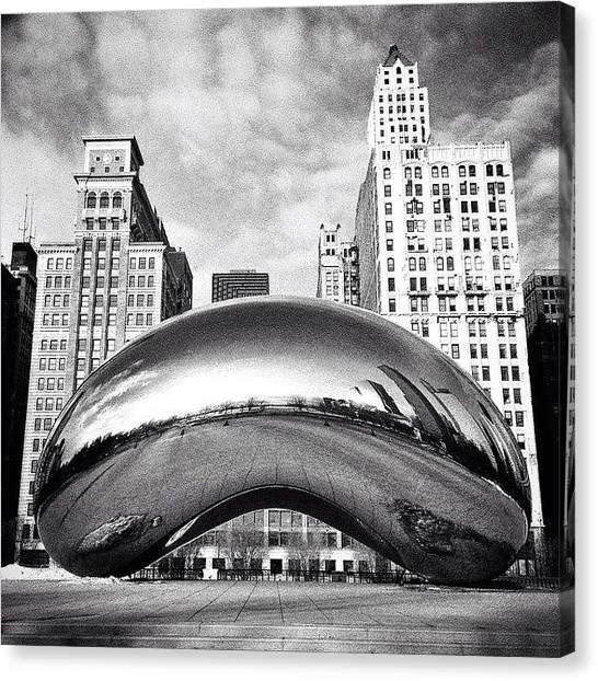 White Canvas Print - Chicago Bean Cloud Gate Photo by Paul Velgos