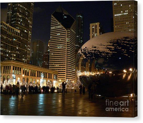 Cloudgate Canvas Print - Cloudgate In Snow by David Bearden
