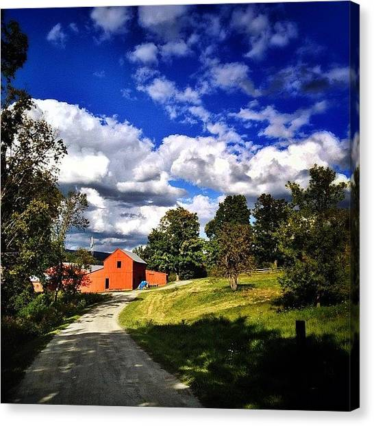 Vermont Canvas Print - Clouds And Barns. Red White And Blue by James Whaley Cart