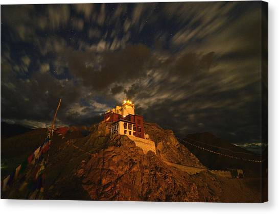 Clouds And Stars Over Tsemo Canvas Print by Aaron Bedell