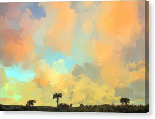 Clouds And Sunset Over Beach Dunes Canvas Print