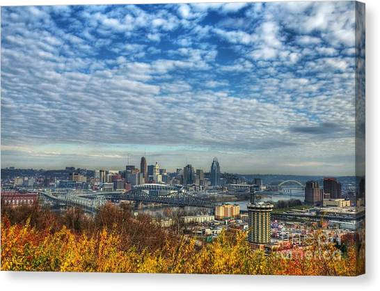 Canvas Print featuring the photograph Clouds Over Cincinnati by Mel Steinhauer