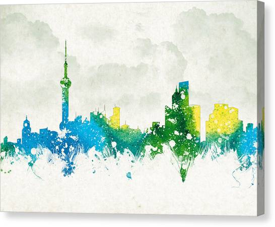 Shanghai Skyline Canvas Print - Clouds Over Shanghai China by Aged Pixel