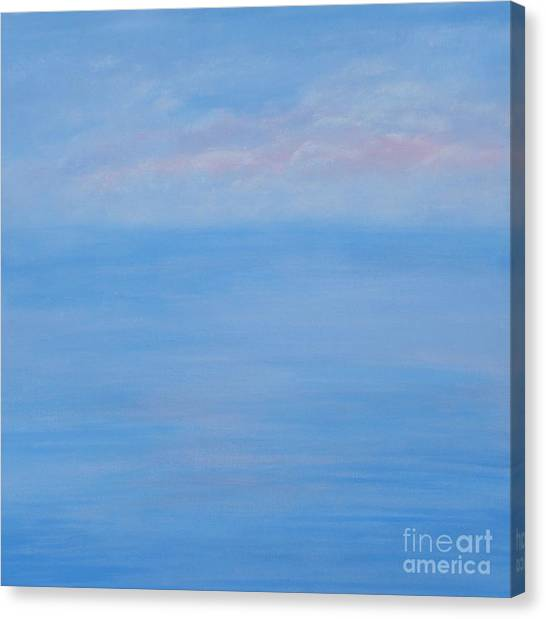 Clouds Pink And Ocean Canvas Print