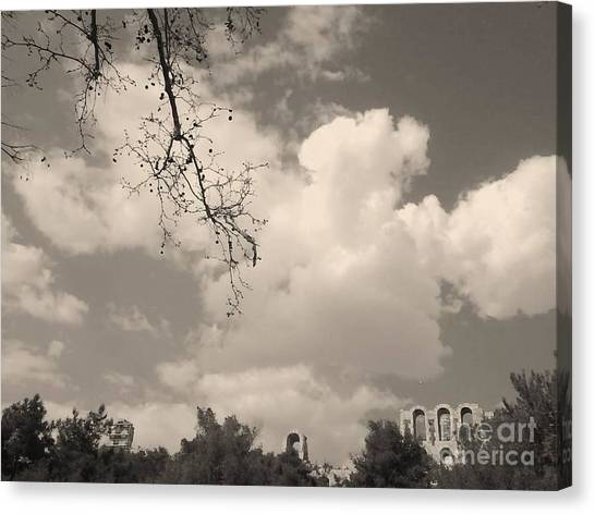 Clouds -shapes In Black-1 Canvas Print by Katerina Kostaki