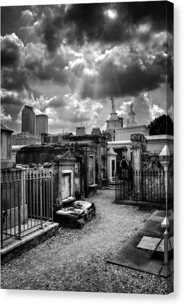 Brick Sidewalk Canvas Print - Cloudy Day At St. Louis Cemetery In Black And White by Chrystal Mimbs