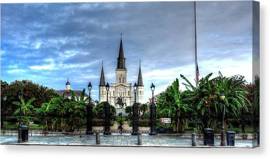 Cloudy Morning At  St. Louis Cathedral Canvas Print