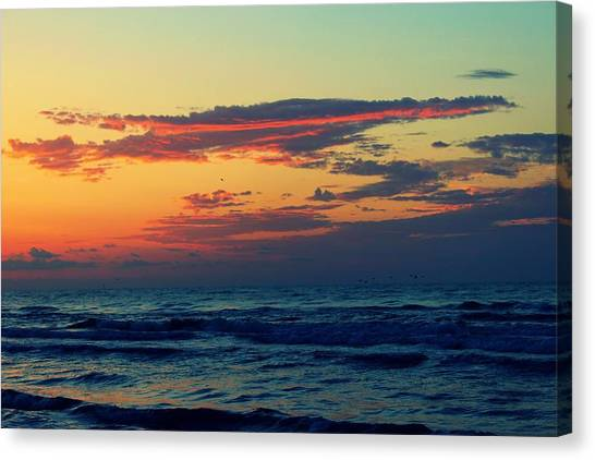 Canvas Print featuring the photograph Cloudy Pink Ocean by Candice Trimble
