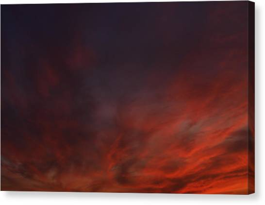 Cloudy Red Sunset Canvas Print