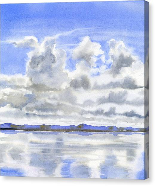 Watercolor Canvas Print - Cloudy Sky With Reflections by Sharon Freeman