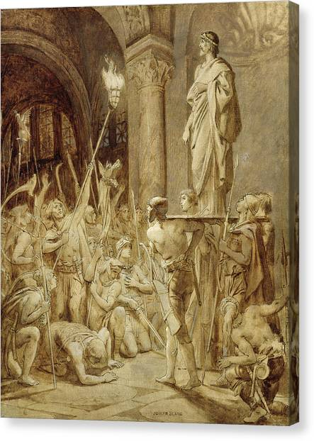 Early Christian Art Canvas Print - Clovis 465-511 Carried On His Shield Oil On Canvas by Joseph Paul Blanc