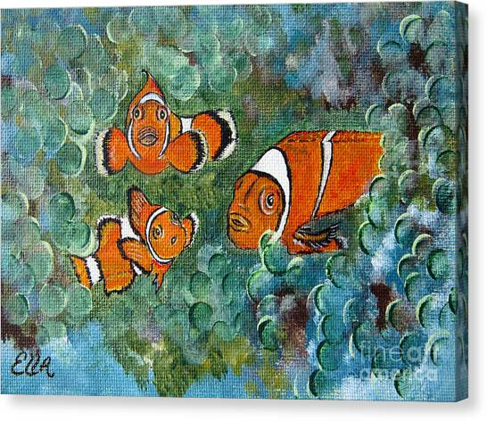 Clown Fish Art Original Tropical Painting Canvas Print