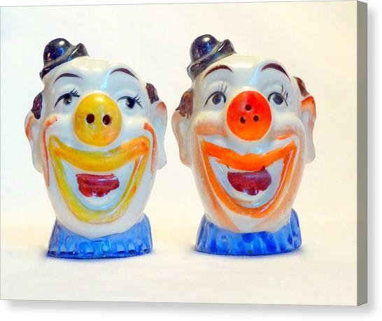 Vintage Clown Salt And Pepper Shakers Canvas Print