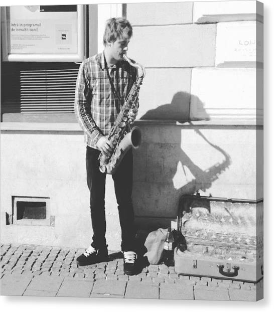 Saxophones Canvas Print - #cluj #lapas #saxophone #player #music by Valentin Vesa