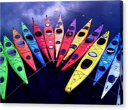 Clustered Kayaks Canvas Print