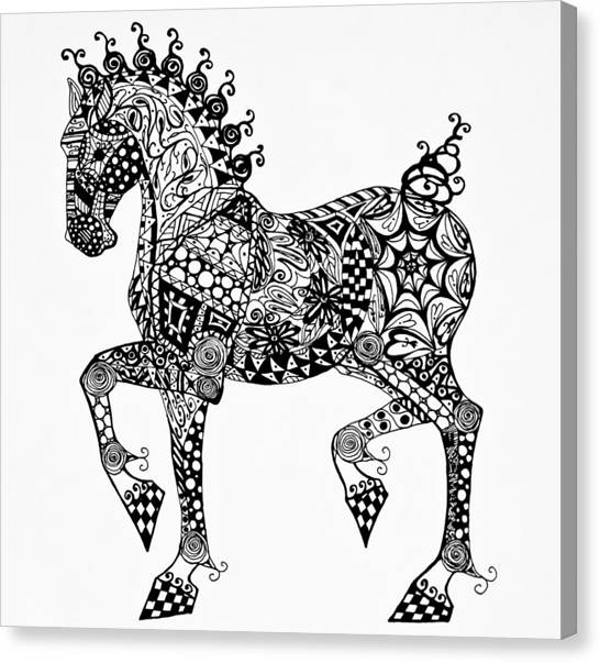 Clydesdale Foal - Zentangle Canvas Print