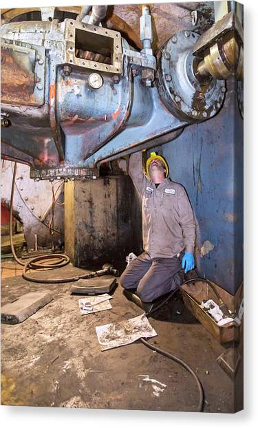 Protective Clothing Canvas Print - Coal-fired Power Station Worker by Jim West